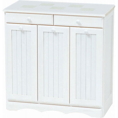 ごみ箱内蔵薄型キッチンカウンター 隠しキャスター付き 幅69cm 高さ70cm ホワイトウォッシュ MUD-3557WS