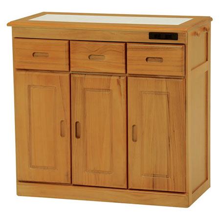 キッチンカウンター 隠しキャスター付き 幅72cm 高さ70cm ナチュラル MUD-6123SNA