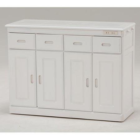 キッチンカウンター 隠しキャスター付き 幅92cm 高さ70cm ホワイト MUD-6124WH