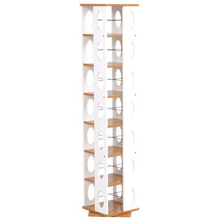 回転式タワー本棚 幅34cm 高さ167cm ブラウン×ホワイト MUD-7181