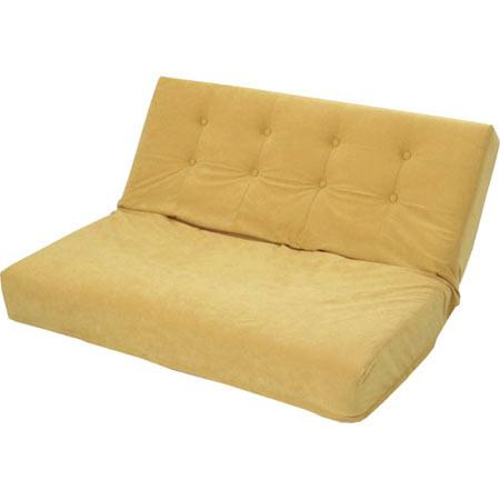 厚みのある リクライニング座椅子 W ダブル 幅広 2人掛け スエード調 ゴールド ■ 2人掛け 二人掛け 2人用 二人用 2P リクライニング 座椅子 座イス 座いす チェアー チェア atumi-w-gd