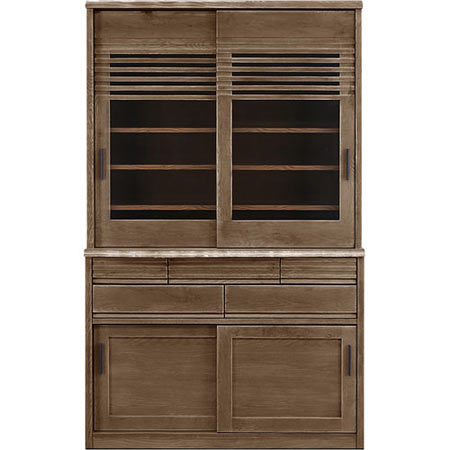 ダイニングボード キッチンボード 陣 幅120 奥行き49 高さ195 ブラックアッシュ 木製食器棚 木製 無垢 日本製 国産 完成品 食器棚 キッチンボード jin-db120