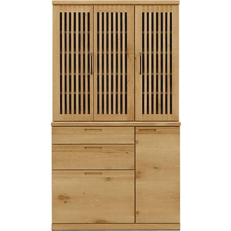 完成品 日本製 折れ戸食器棚 レジェンド 幅110cm 高さ200cm 木製食器棚 ◆