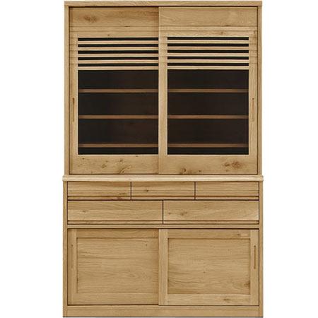ダイニングボード キッチンボード 凛 幅120 奥行き49 高さ195 ホワイトオーク 木製 無垢 日本製 国産 完成品 食器棚 キッチンボード rin-db120