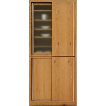 完成品 日本製 引き戸食器棚 ソルト 幅88cm 高さ195cm ホワイトオーク ◆
