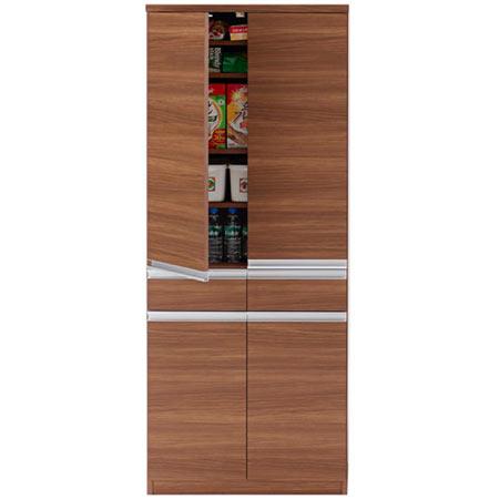 キッチンストッカー戸棚 JUST ジャスト 幅74 奥行き45 高さ180 リアルウォールナット 日本製 完成品 ekd-73t