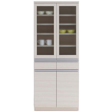 食器棚 JUST ジャスト 幅74 奥行き45 高さ180 ホワイトウッド 日本製 完成品 eks-73g