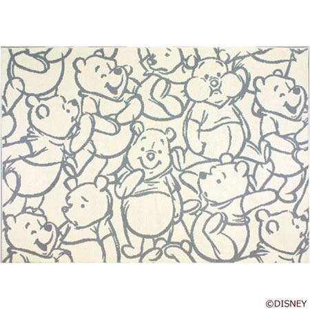 ディズニー Winnie the Pooh ウィニー・ザ・プー Smile スマイル ラグ 140×200cm グレー DRP-1013-GR<133-30730>