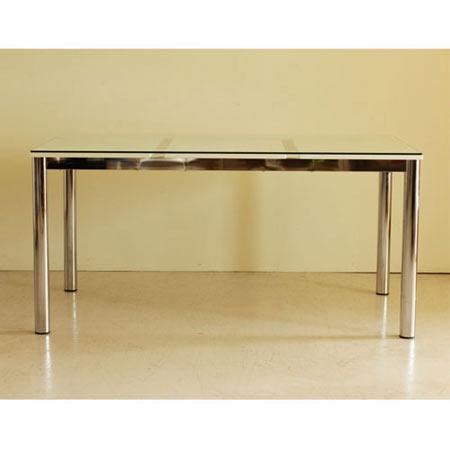 ダイニングテーブル ガラステーブル Nフレスコ 幅130 奥行き80 高さ73 白 ホワイト ガラス天板 スチールフレーム ■ ダイニングガラステーブル おしゃれ リビング ダイニング テーブル 机 台 3403130
