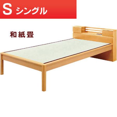 畳ベッド 彩 シングル ナチュラル ベッドフレームのみ 和紙 宮棚付き ヘッドボード 0001839