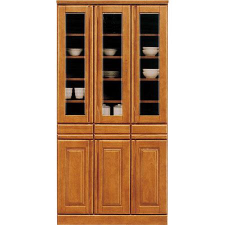 食器棚 ジェロ 幅90cm 高さ180cm ライトブラウン