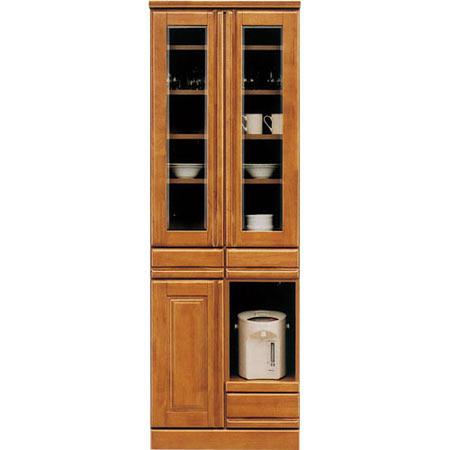 食器棚 ジェロ 幅60cm 高さ180cm スライド棚付き ライトブラウン