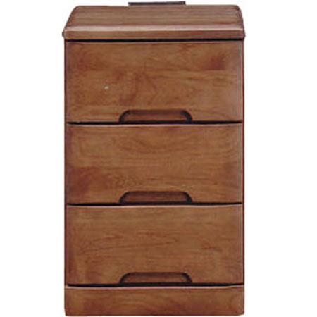 ナイトテーブルチェスト スカーレット 幅30cm 高さ48cm 3段 ダークブラウン
