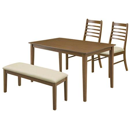 4人掛 ダイニング4点セット ジャスト( 幅120cm テーブル+チェア2脚+ベンチ)ダークブラウン