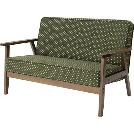 レトロ調 木肘ソファー 1人掛け ロージー 幅65 ドット柄 グリーン 木製 布張り 83-745