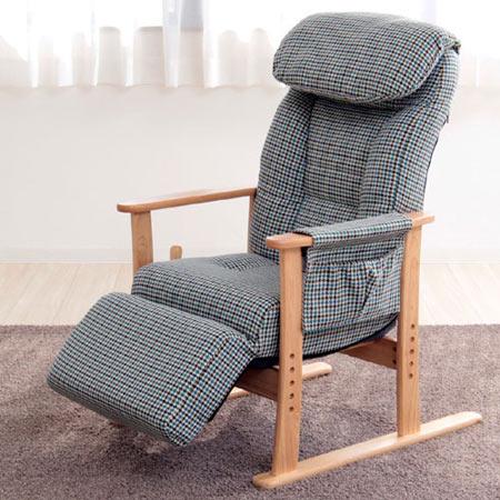 高座椅子 梢 無段階 リクライニング付き フットレスト付き 木製 パーソナルチェア おしゃれ 83-818