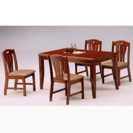 ダイニング5点セット マイケル 幅135cm テーブル+チェア×4脚 ブラウン