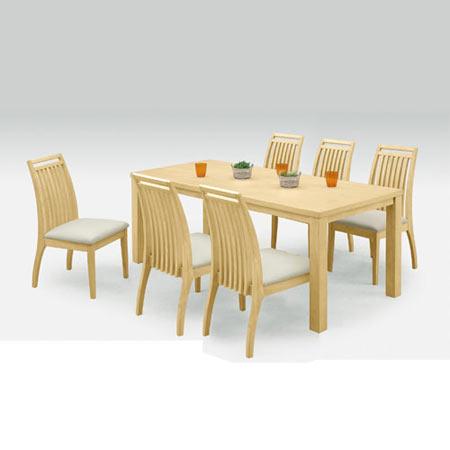 ダイニング7点セット アルファ 幅180cm テーブル+チェア×6脚 ナチュラル