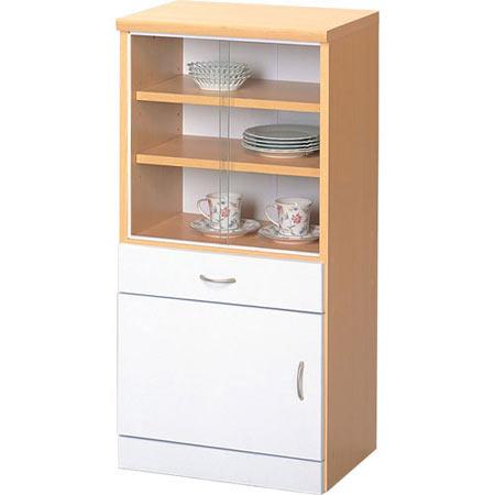 食器棚 引き戸 幅45cm高さ90cm ナチュラル×ホワイト is-450