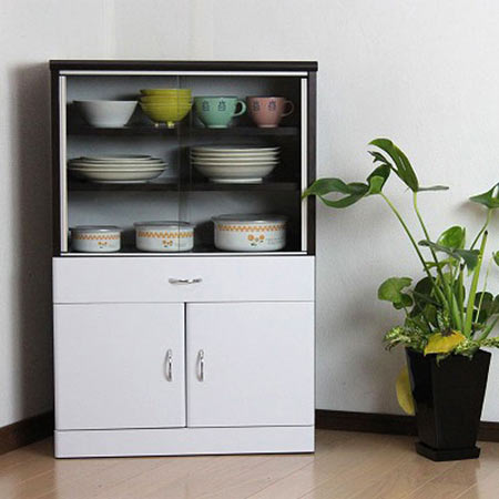 食器棚 引き戸 幅60cm高さ90cm ダークブラウン×ホワイト is-601