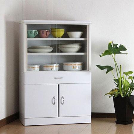 食器棚 引き戸 幅60cm高さ90cm ホワイト is-602