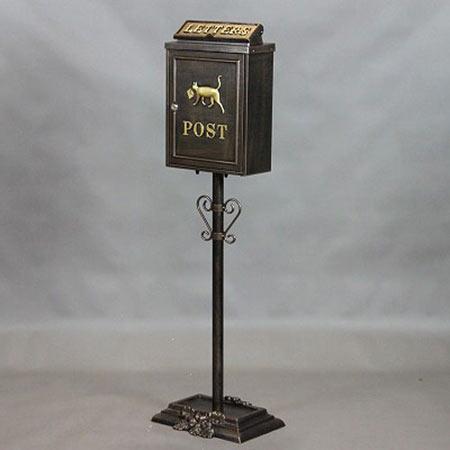 鍵付き鋳物ポストスタンド 配達ネコ xz-12