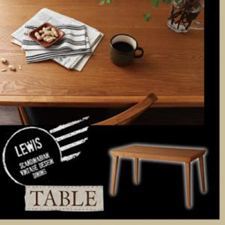 天然木北欧ヴィンテージスタイルダイニングテーブル LEWIS ルイス 幅135 奥行き78 テーブル単品 木製 天然木 ソファー ソファ 40605280