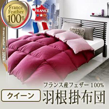 フランス産フェザー100% 羽根掛布団 クイーン 40200710