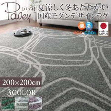 夏涼しく冬あたたかい 国産 モダンデザイン ラグ pavey パヴィ 200×200cm ラグ マット カーペット 敷物 40702172