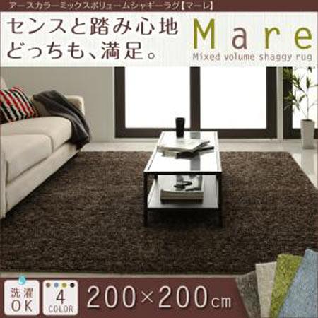 アースカラー ミックスボリュームシャギーラグ Mare マーレ 200×200cm 40701937