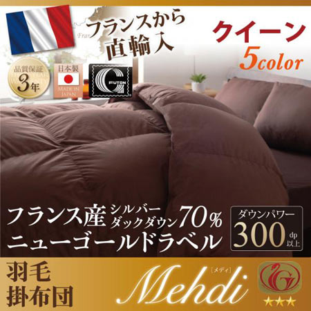 日本製防カビ消臭フランス産 ダックダウン ニューゴールドラベル 羽毛掛布団 Mehdi メディ クイーン