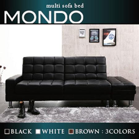 リクライニング マルチソファーベッド MONDO モンド ブラック ソファベッド本体 スツール セット 脚付き 合皮 レザー 40102877