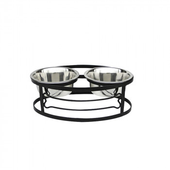 いぬ 水 ねこ 一部予約 おしゃれ かわいい セット 代引き 同梱不可 新登場 正規輸入品 ペッツストップ 皿 ペット ブラック フードスタンド S エサ RDB3S-BONE Stop Pets ボーンダブルダイナー