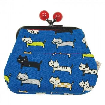代引き不可 COCO-LIFEは その時 その時に生活の喜びを感じていただける 誰かに伝えたくなる 商品をより多くのお客様へお届けいたします 代引き 同梱不可 ポケット付がま口 値下げ GA13-02-2 ポーチ 財布 猫 Ripple