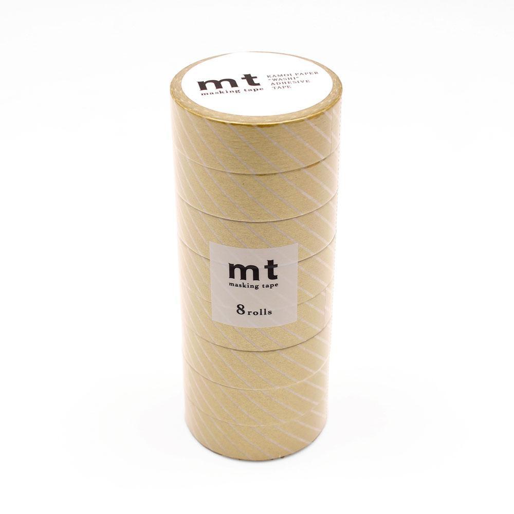 COCO-LIFEは その時 メーカー直送 その時に生活の喜びを感じていただける 誰かに伝えたくなる 商品をより多くのお客様へお届けいたします 代引き 同梱不可 mt ストライプ マスキングテープ 8P ゴールド MT08D144 定価