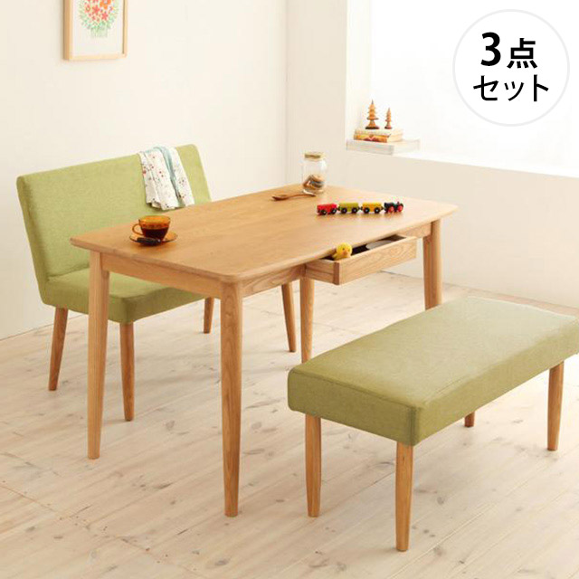unica ベンチタイプ3点セット[A] テーブル115cm+カバーリングベンチ+ソファベンチ (ダイニングセット 4人用 幅115cm)
