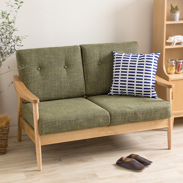 ソファ 2人掛け ヘンリー Henry RTO-921 グリーン ブラウン 天然木 ナチュラル 木目 完成品 高品質 シンプル 二人掛け 2人用 椅子 おしゃれ かわいい 北欧 一人暮らし リビング ダイニング