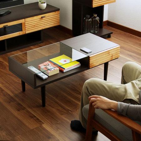 エフイー 100リビングテーブル (センターテーブル ローテーブル コーヒーテーブル ガラストップ 引き出し付き シンプル木製 北欧インテリア ミッドセンチュリー)