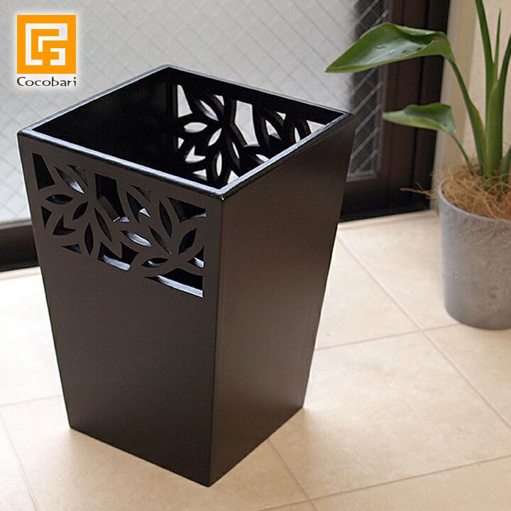 ゴミ箱(ロータス模様)◆【 おしゃれ 角型 小さい 洗面所 】