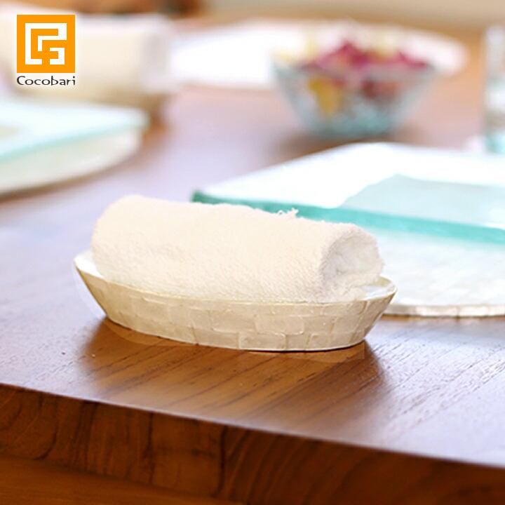 シェルのおしぼり置き 与え 食卓がパッと明るくなります シェル おしぼり受け ついに再販開始 おしぼりトレー おしぼりトレイ アジアン おしゃれ インテリア ホテル リゾート バリ風 高級感 雑貨