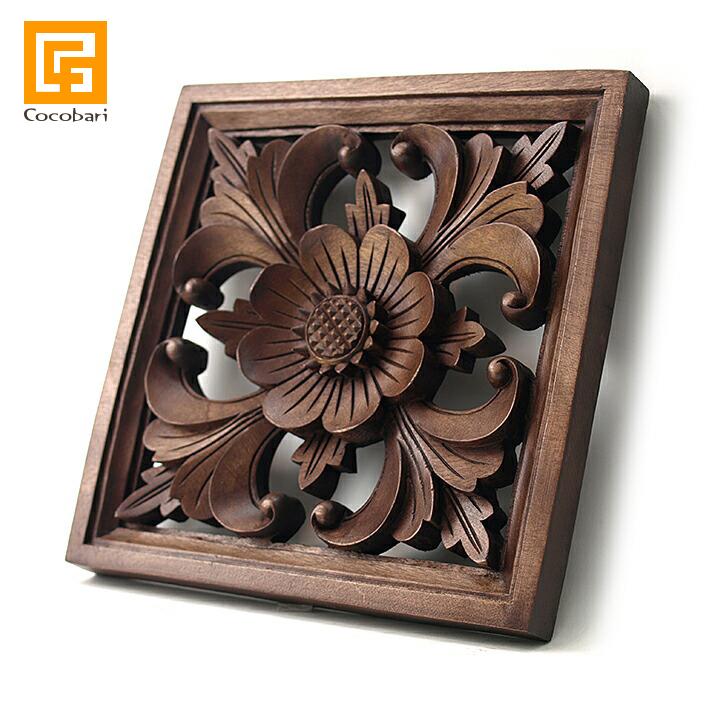 枠付き木彫りのレリーフ(お花) 【 アジアン バリ 木製 ウッドレリーフ 壁掛け 壁飾り お花 バリ島 】