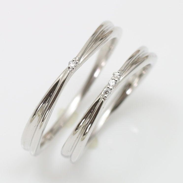 ペアリング 2本セット K18ホワイトゴールド 天然ダイヤモンド マリッジリング 結婚指輪 日本製【NEWショップ】【送料無料】【ホワイトゴールド】【ダイヤモンド】【ペアリング】母の日 プレゼント ギフト