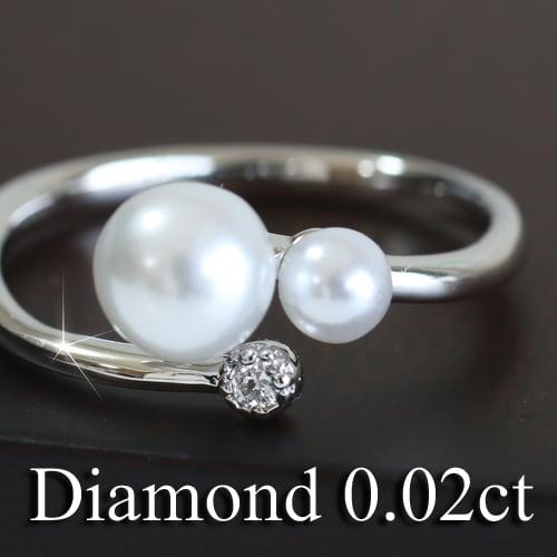 天然ダイヤモンド 淡水パール リング プラチナ900 品質保証書 金属アレルギー 日本製