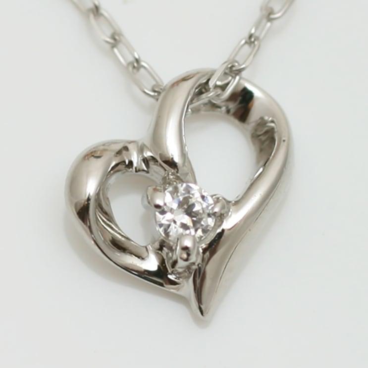 ネックレス k18 ダイヤモンド ハート イエローゴールド/ホワイトゴールド/ピンクゴールド 品質保証書 金属アレルギー 日本製 誕生日 ギフト