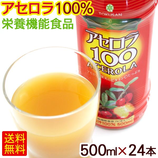 アセロラ100(果汁100%)500ml×24本 <送料無料> │アセロラジュース アセロラドリンク│