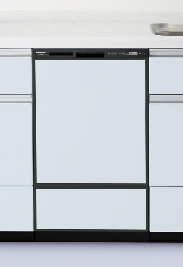 パナソニック・ビルトイン食器洗乾燥機(食洗機)【NP-45RD6K】幅45cm ディープタイプ・ドアパネル型 / ブラック