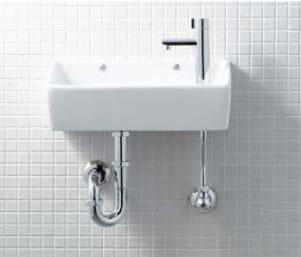 手洗い器 セット 手洗い器セット 壁給水 壁排水 (Pトラップ)  YL-A35HC 狭小手洗シリーズ 手洗タイプ [角形] [壁給水/壁排水 (Pトラップ) ] [アクアセラミック] 手洗い器 セット 陶器