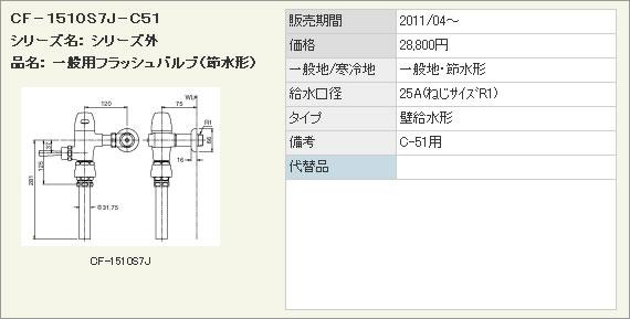 INAX イナックス LIXIL・リクシル トイレ 一般用フラッシュバルブ(節水形) 洗浄水量10-15L用 【CF-1510S7J-C51】 壁給水形フラッシュバルブ(バキュームブレーカー付) C-51用