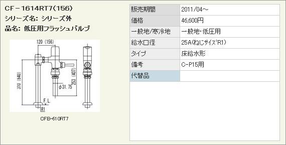 INAX イナックス LIXIL・リクシル トイレ 低圧用フラッシュバルブ(節水形) 【CF-1614RT7(156)】 床給水形フラッシュバルブ(バキュームブレーカー付) C-P15用
