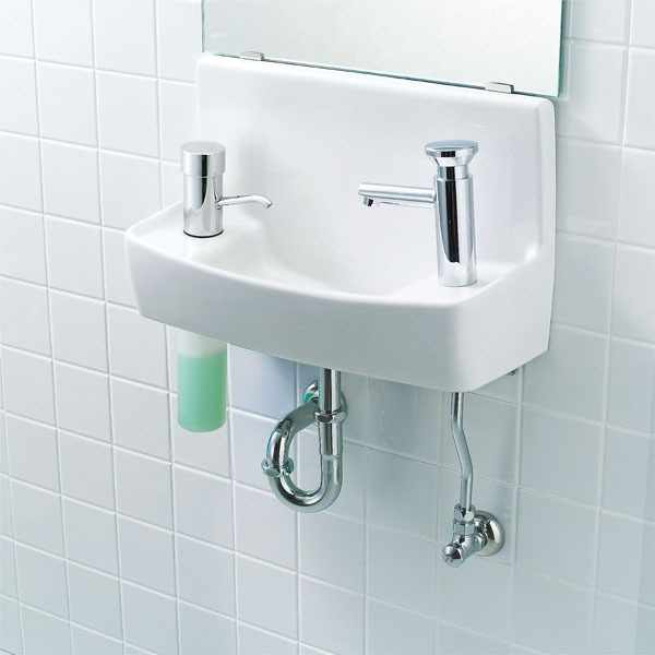 【L-A74W2C】 INAX イナックス LIXIL・リクシル トイレ用手洗い器 温水自動水栓(100V) 水石けん入れ付タイプ 壁給水・壁排水 ハイパーキラミック